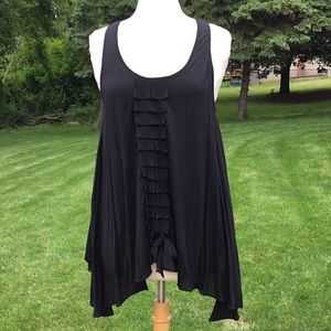 Mystree Boutique Pleated Black Tank Top